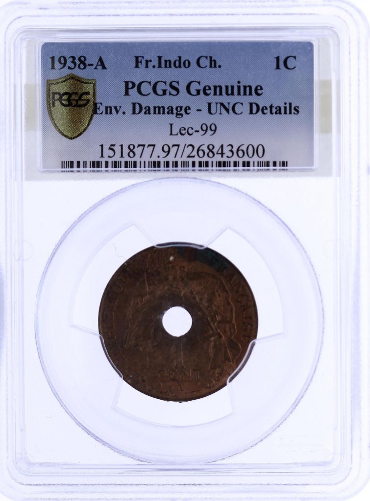 French Indo-China 1 Cent Republican statue - 1938 A - PCGS UNC DETAILS