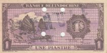 French Indo-China 1 Piastre - 1943 -  Serial F - VF+ - P.60s