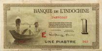 French Indo-China 1 Piastre - 1945 Letter E - F