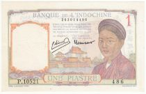 French Indo-China 1 Piastre - 1950 - aUNC - P.54e Serial P.10521