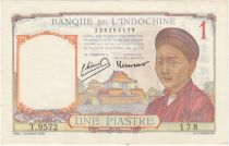 French Indo-China 1 Piastre - 1950 - aUNC - P.54e Serial T.9572