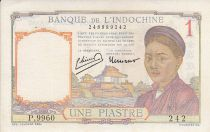 French Indo-China 1 Piastre - Woman - Temple - Sig. Laurent, Minost - 1950
