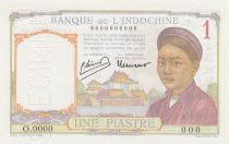 French Indo-China 1 Piastre Laotian girl - ND (1946) - Specimen - P.54c