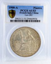 French Indo-China 1 Piastre Liberty seated - 1900 A - PCGS AU 53