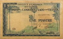 French Indo-China 1 Piastre ND (1954) - Laos  issue - F