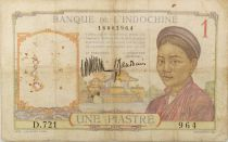 French Indo-China 1 Piastre Woman - ND (1932) - Serial D.721 - VG to F