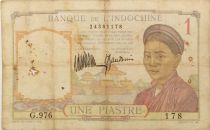 French Indo-China 1 Piastre Woman - ND (1932) - Serial G.976 - VG to F