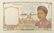 French Indo-China 1 Piastre Woman - ND (1936) - Serial B.4949 - AU