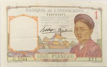 French Indo-China 1 Piastre Woman - ND (1936) - Serial G.5704 - VF