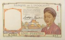 French Indo-China 1 Piastre Woman - ND (1936) - Serial K.5463 - AU