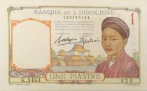French Indo-China 1 Piastre Woman - ND (1936) - Serial K.5463 - XF
