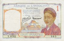 French Indo-China 1 Piastre Woman - ND (1946) - VF