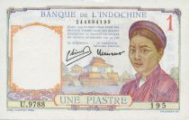 French Indo-China 1 Piastre Woman - ND (1946) - XF