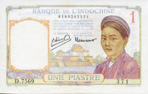 French Indo-China 1 Piastre Woman - ND (1949) - VF