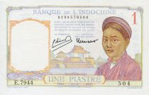 French Indo-China 1 Piastre Woman - ND (1949) - XF