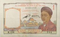 French Indo-China 1 Piastre Woman - ND (1953) - Serial K.436 - F