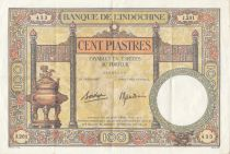 French Indo-China 100 Piastres  Dupleix - 1936-1939 Serial J.201 - VF to XF - P.51