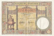 French Indo-China 100 Piastres  Dupleix - 1936-1939 Serial U.185 - VF to XF - P.51