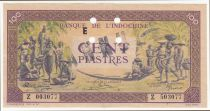 French Indo-China 100 Piastres Market - 1945 - Letter E - Z 503077 - Annulé - XF + - P.067s