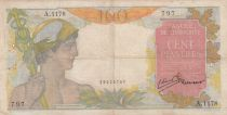 French Indo-China 100 Piastres Mercury ND 1947- Serial A.1178