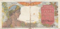French Indo-China 100 Piastres Mercury ND 1947- Serial B.3318