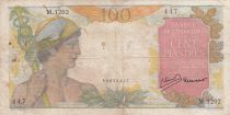 French Indo-China 100 Piastres Mercury ND 1947- Serial M.1202