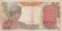 French Indo-China 100 Piastres Mercury ND 1947- Serial Q.2706