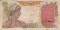 French Indo-China 100 Piastres Mercury ND 1949- Serial Q.1954