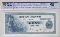 French Indo-China 100 Piastres ND1945 Specimen - PCGS AU 58