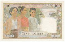 French Indo-China 100 Piastres Women - Dao Bai - 1954 - XF - P.108
