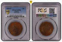 French Indo-China 2 Cents  Liberty - 1890 E - Essai- PCGS SP 58