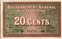 French Indo-China 20 Cents, Vert et Brun - Peasant - P.86 c