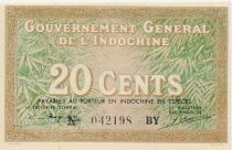 French Indo-China 20 Cents ND (1939) - Woman with conical hat - VF+