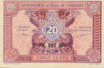 French Indo-China 20 Cents ND (1942) - Serial RK 257.359 - XF