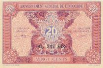 French Indo-China 20 Cents ND (1942) - Serial RL 247.362 - VF