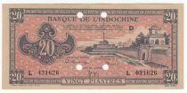 French Indo-China 20 Piastres - 1945 - Letter D - L 031626 - Annulé - XF +