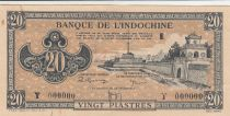 French Indo-China 20 Piastres - 1945 - Letter E Y.000000 -  Specimen - XF+