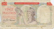 French Indo-China 20 Piastres ND (1949) Helmeted Woman - Serial E.473 - G