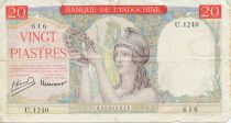 French Indo-China 20 Piastres ND (1949) Helmeted Woman - Serial U.1240 - F
