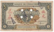 French Indo-China 5 Piastres - 1945 - Letter F - O 087297 - Annulé - VF