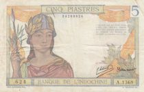 French Indo-China 5 Piastres - ND (1946) - Serial A.1369