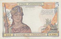 French Indo-China 5 Piastres - ND (1946) - Serial Y.3361