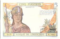 French Indo-China 5 Piastres, Woman with helmet and lance - 1945 - P.55 c