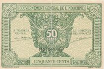 French Indo-China 50 Cents ND (1942) - Serial CS 244.68 - VF