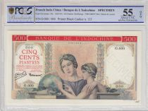 French Indo-China 500 Piastres ND1951 red background, Specimen - PCGS AU 58