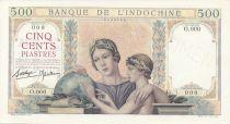 French Indo-China 500 Piastres Woman, child - Elephants - Specimen 1939
