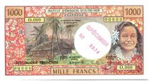 French Pacific Territories 1000 Francs Tahitian woman - Hut - Specimen - 1985