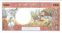French Pacific Territories 1000 Francs Tahitian woman - Hut - Specimen Jurgensen - 1985