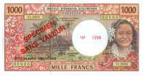 French Pacific Territories 1000 Francs Tahitian woman - Hut - Specimen