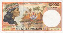 French Pacific Territories 10000 Francs Tahitian girl - 2010 - P.4b - VF - Serial A.002